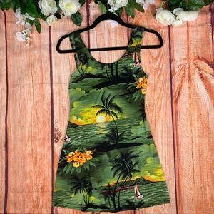 Vtg 90s Hawaiian Tropical Palm Tree Mini Dress1615